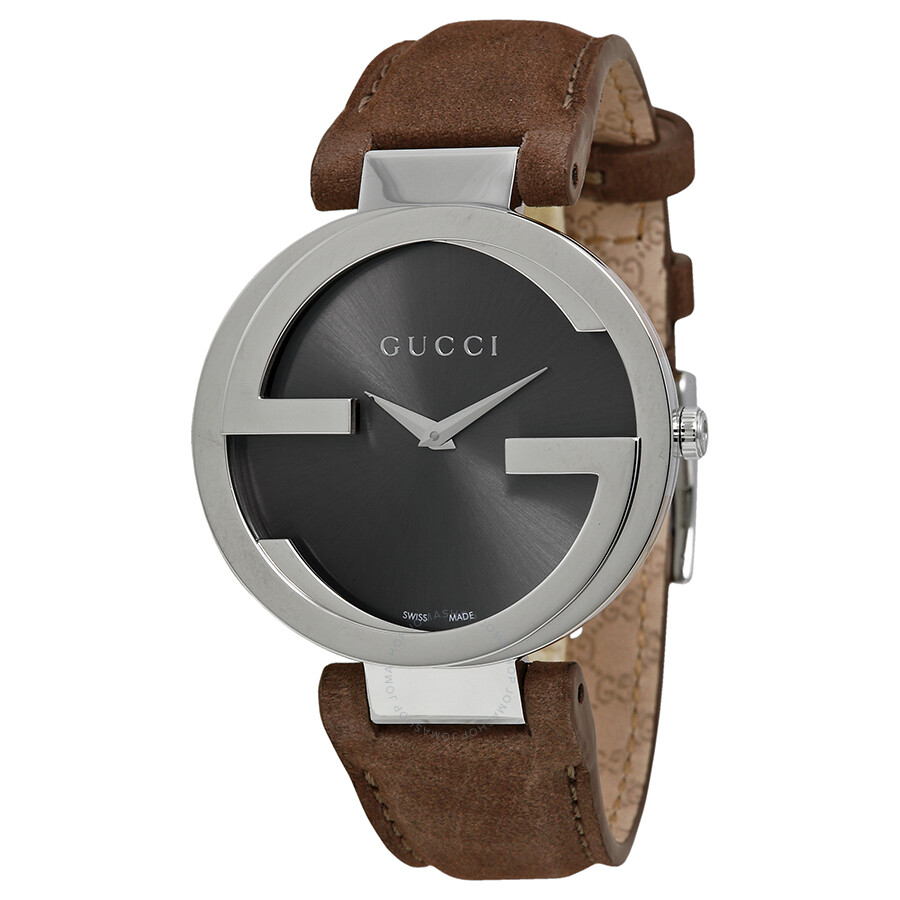 b4aac0ae8e6 Gucci Interlocking Brown Dial Brown Leather Ladies Watch YA133319 ...