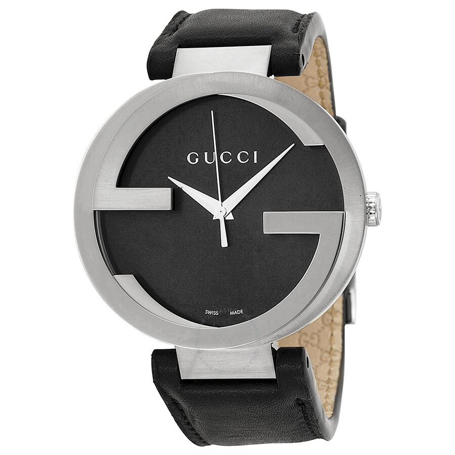 Gucci Interlocking G Black Dial Black Leather Men's Watch ...