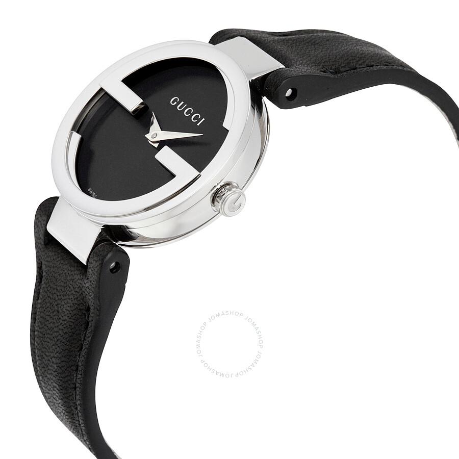 31ba4d7cf45 Gucci Interlocking G Black Dial Ladies Watch YA133501 - Interlocking ...