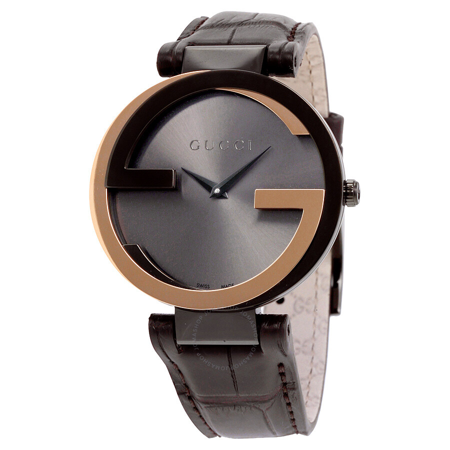 f5ad0c437b0 Gucci Interlocking-G Black Dial Brown Leather Ladies Watch YA133304 ...