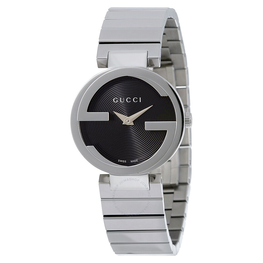 b8ddfab63b2 Gucci Interlocking G Black Dial Stainless Steel Ladies Watch YA133511 ...