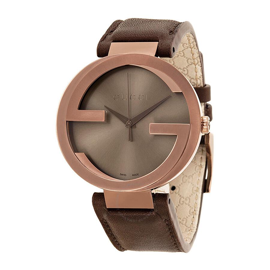 4a394a03c34 Gucci Interlocking G XL Brown Dial Brown Leather Men s Watch YA133207 ...