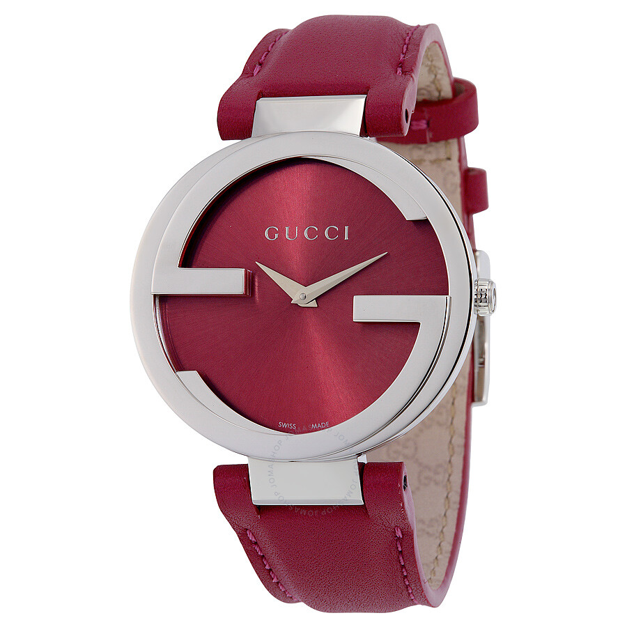 e2246b5a94f ... Gucci Ladies Watches  Gucci Interlocking G Pink Dial Pink Leather Ladies  Watch
