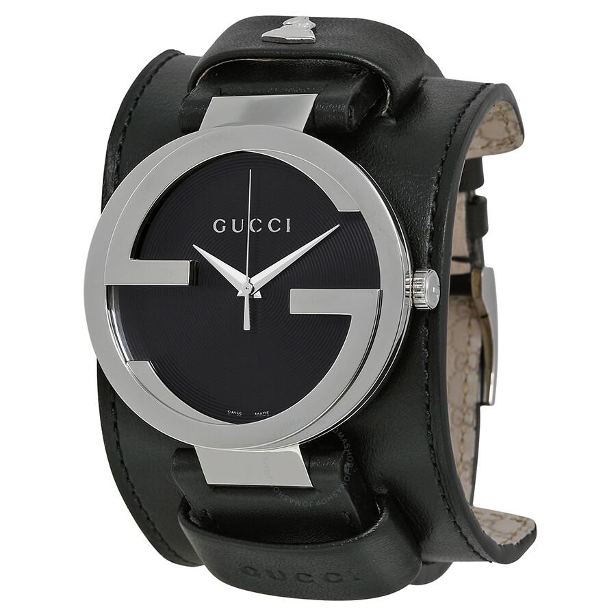 a0d25f21c82 Gucci Interlocking GRAMMY Black Dial Black Leather Cuff Men s Watch  YA133203 ...