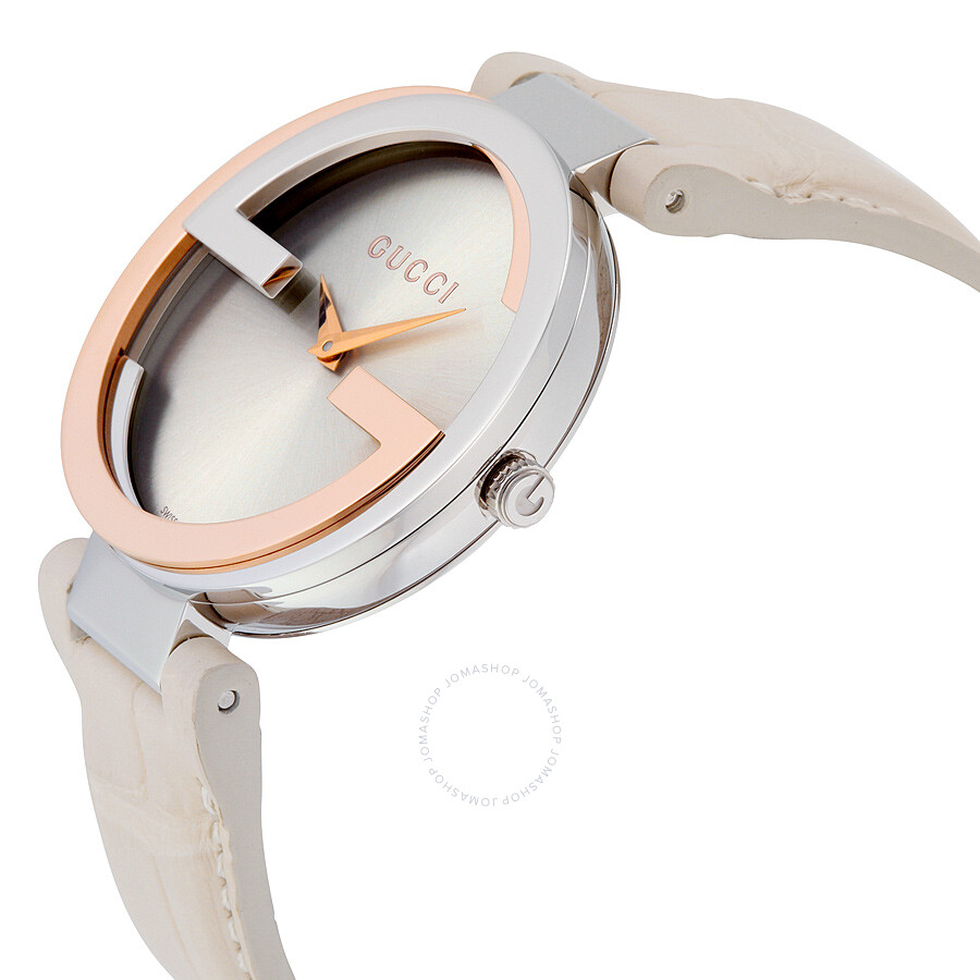 545938f86cb ... Gucci Interlocking Large Silver Dial White Leather Ladies Watch YA133303  ...