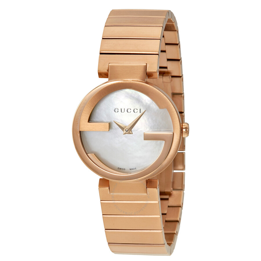 e946f2ae3a4 Gucci Interlocking Mother of Pearl Dial Ladies Watch YA133515 ...