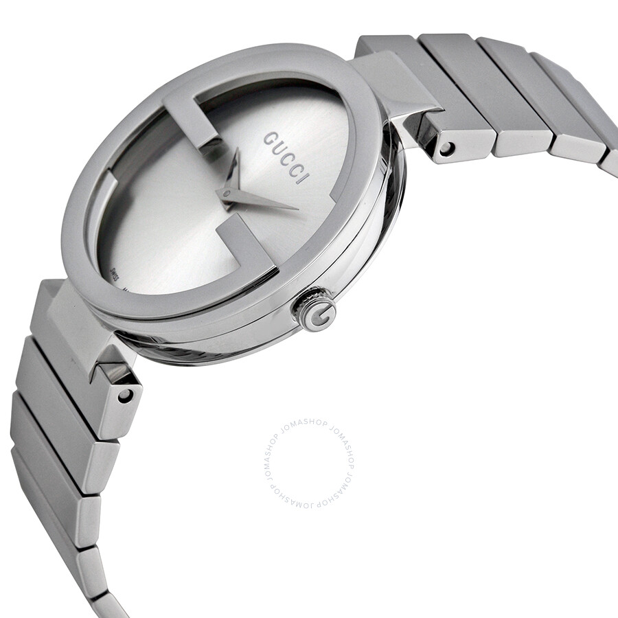 9af3627264a8f ... Gucci Interlocking Silver Dial Stainless Steel Ladies Watch YA133308 ...