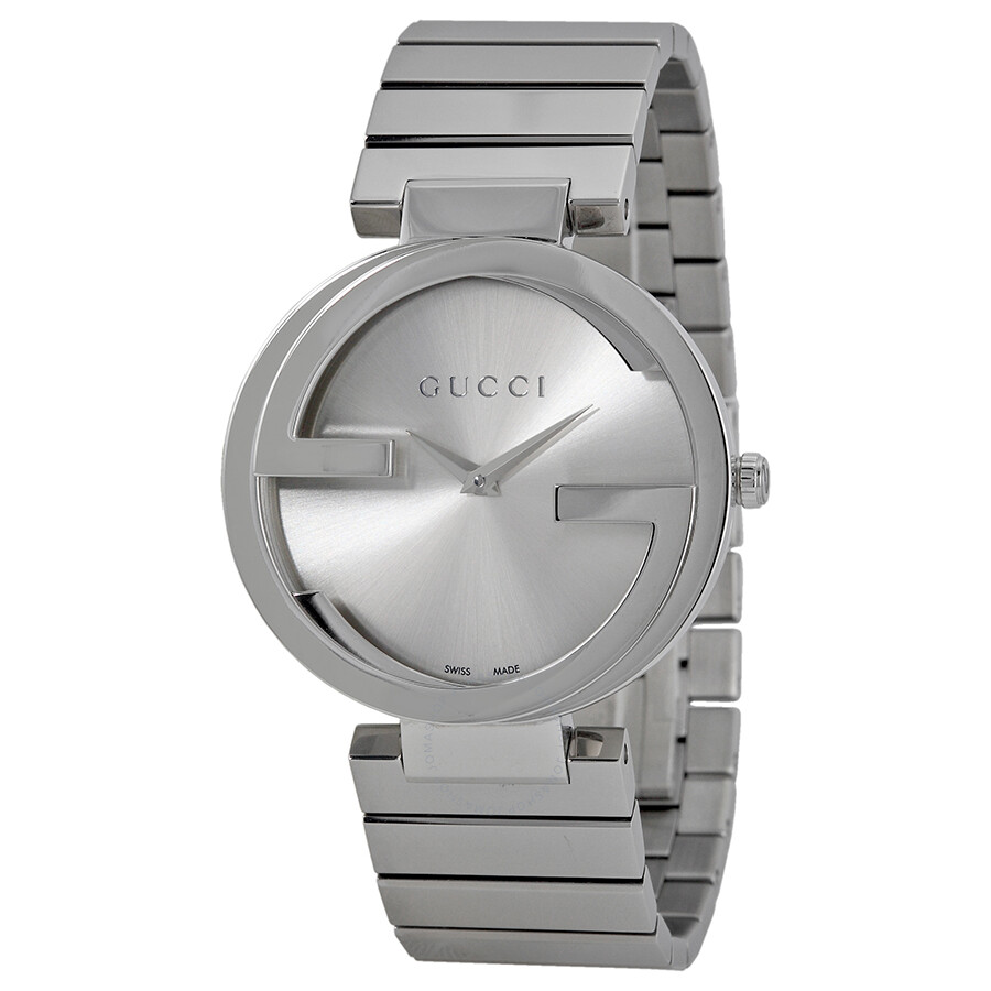 8d665f409b272 Gucci Interlocking Silver Dial Stainless Steel Ladies Watch YA133308 ...