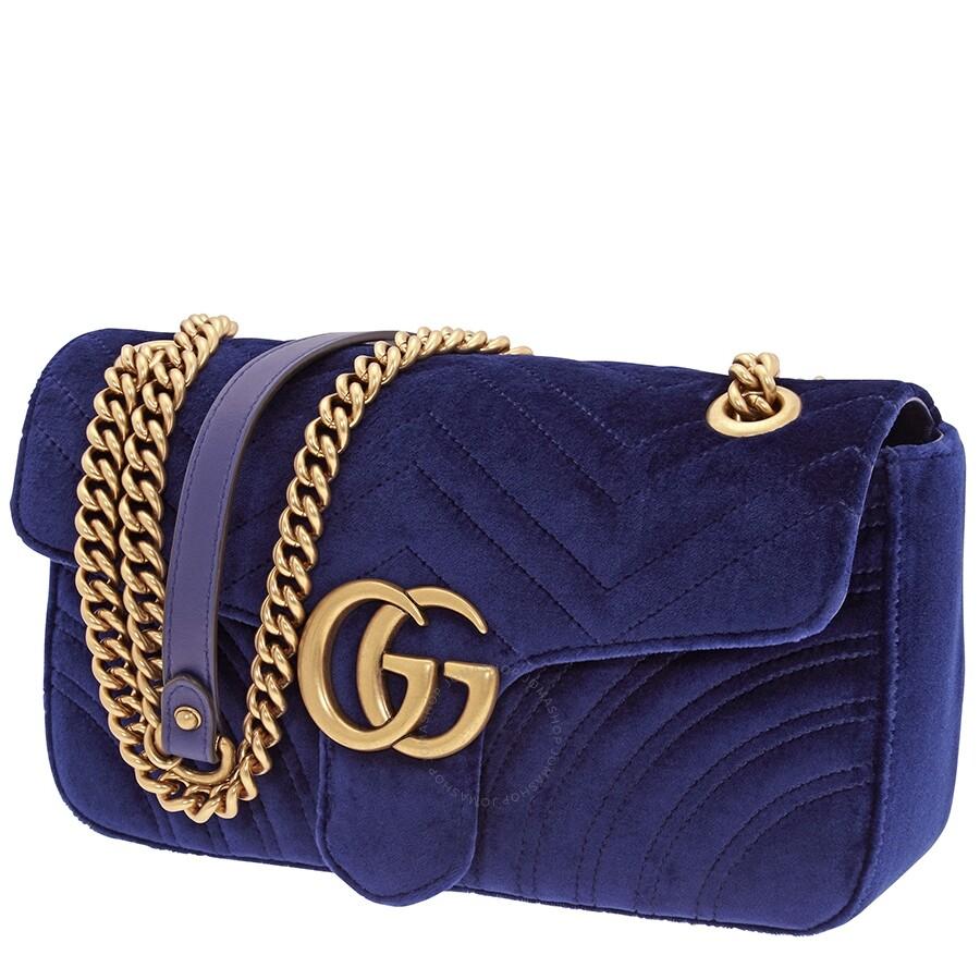 68732656 Gucci Ladies GG Marmont Velvet Shoulder Bag- Aqua