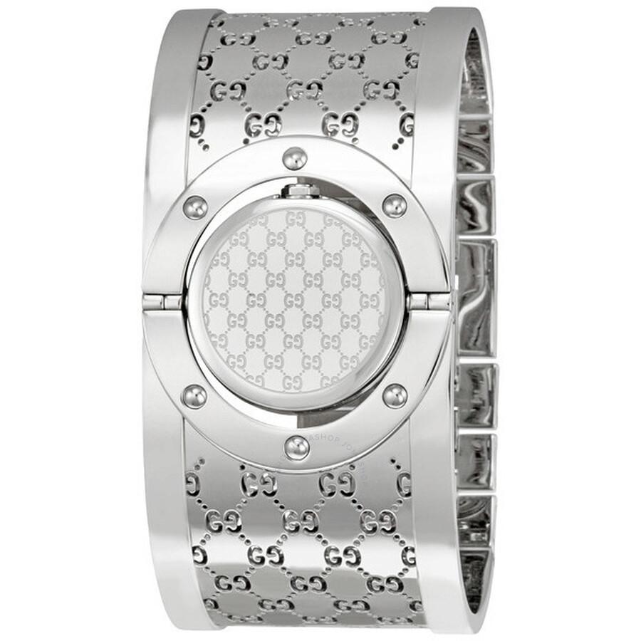 7e8de1d6012 Gucci Ladies Series 112 Twirl Bangle Style Wide White Dial Watch YA112413