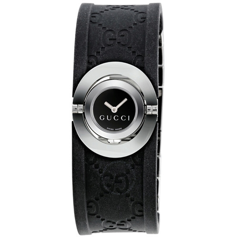 7cd16b9e773 Gucci Ladies Twirl Collection Black Rubber Bangle Watch YA112518 ...