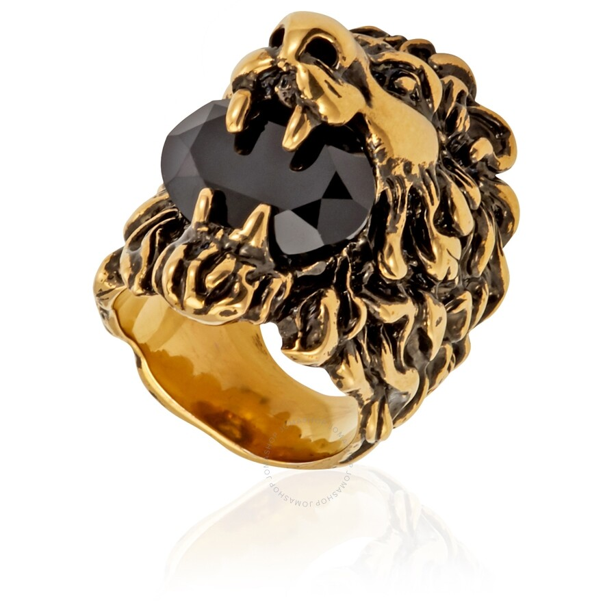 b9be98966 Gucci Lion Head Ring With Black Crystal Las Jewelry