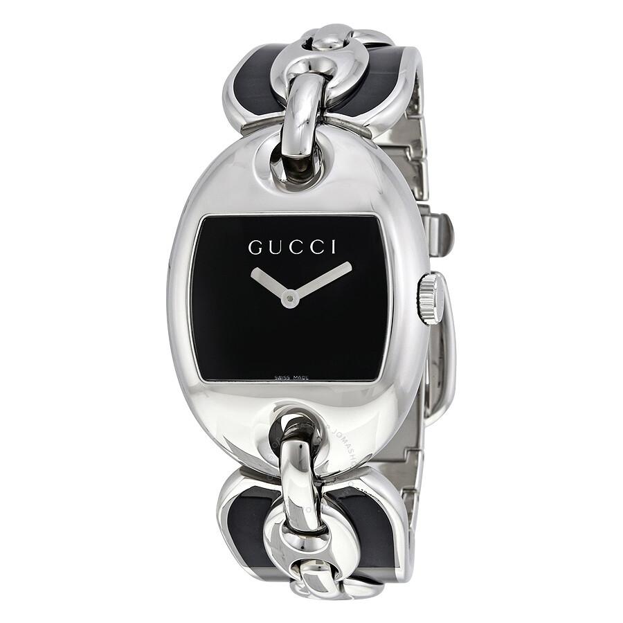 e41475404 Gucci Marina Chain 121 Black Dial Polished Stainless Steel Bangle Bracelet  Ladies Watch YA121301 ...
