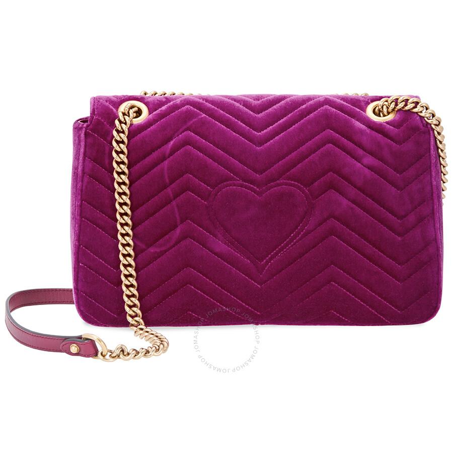 bd87f24177eddf Gucci Marmont Medium Velvet Shoulder Bag- Fuschia - Gucci - Handbags ...