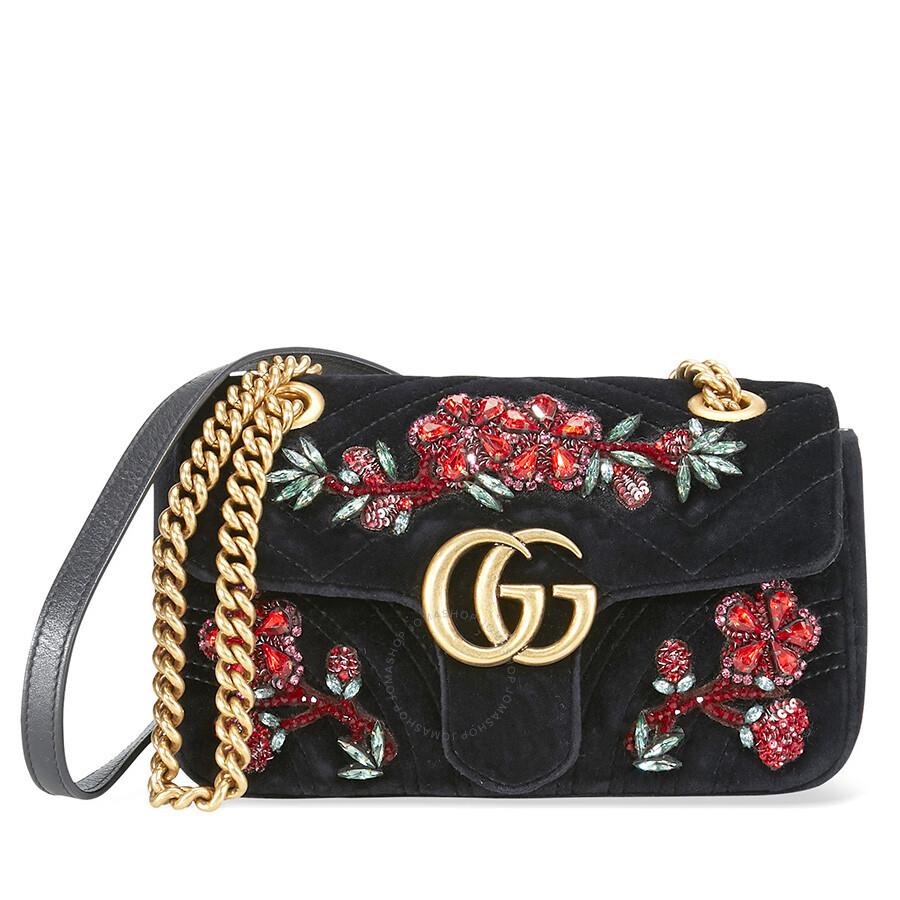 c2e216695cfbe3 Gucci Marmont Mini Shoulder Bag- Flower Black - Gucci - Handbags ...