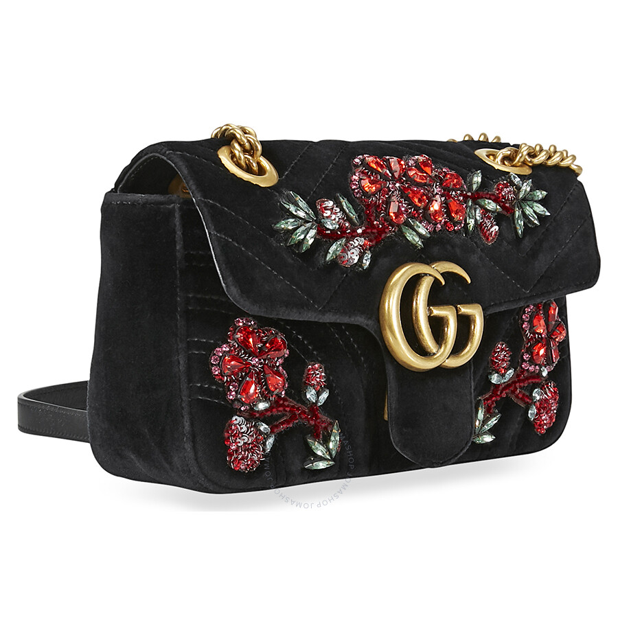 c1eacab82666 Gucci Marmont Mini Shoulder Bag- Flower Black - Gucci - Handbags ...