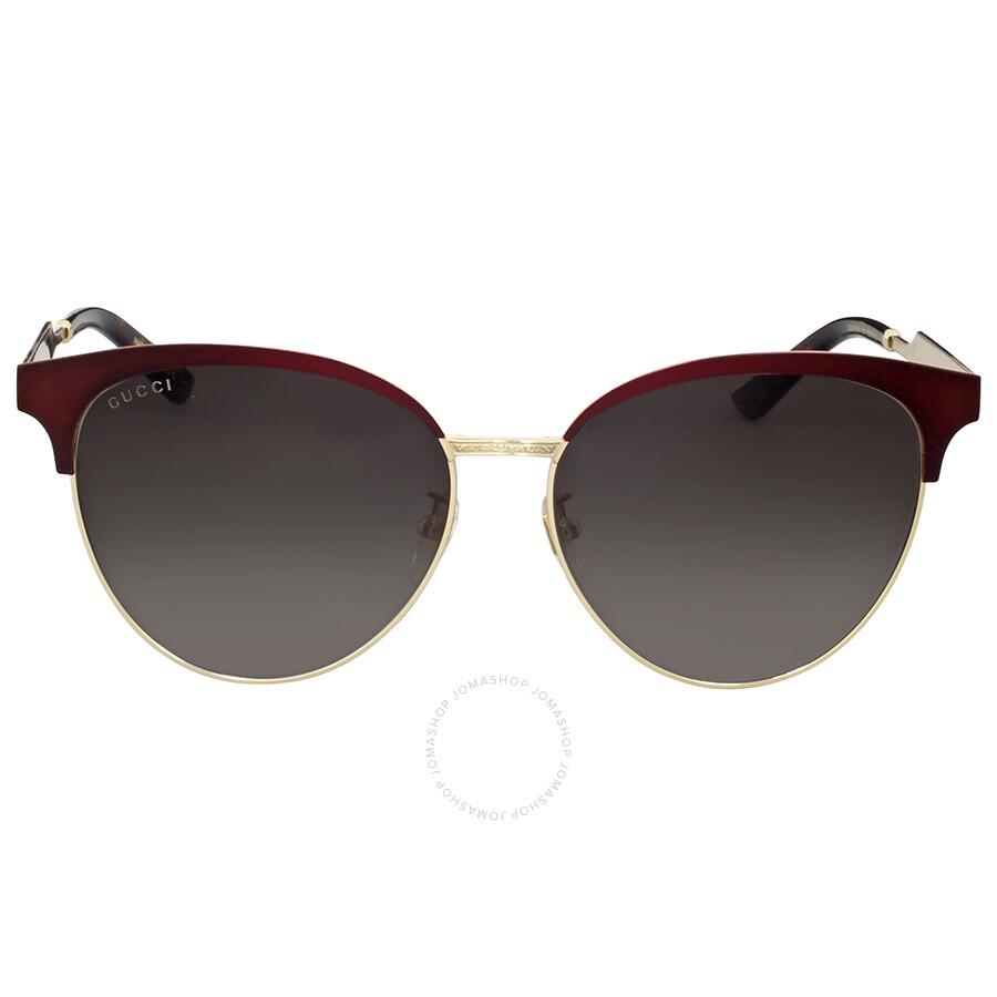 c289e6c26 Gucci Matte Burgundy Cat Eye Sunglasses - Gucci - Sunglasses - Jomashop