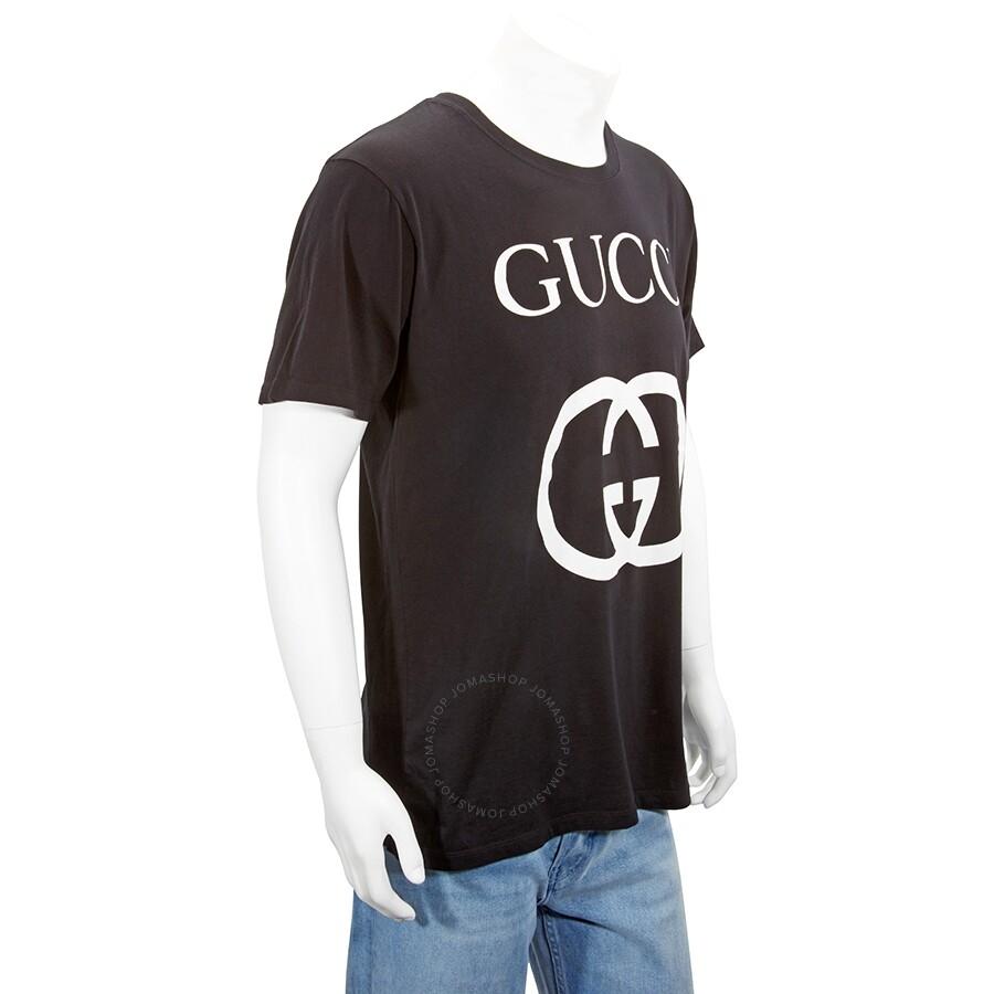 Gucci Men\u0027s T,Shirt Black, White Gu Gucci Print Size Large