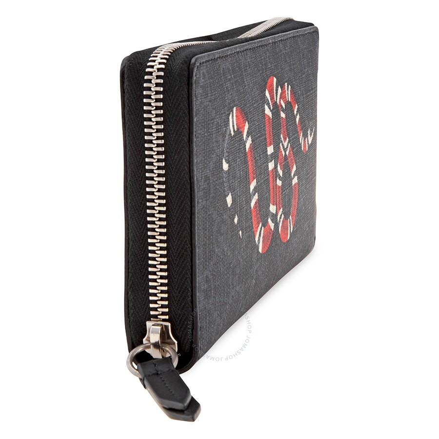 7d6e45da83 Gucci Men's Kingsnake Print GG Supreme Zip Around Wallet