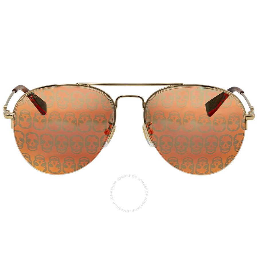 5983e8a11 Gucci Orange Mirror Skulls Aviator Sunglasses GG0107S 002 56 - Gucci ...