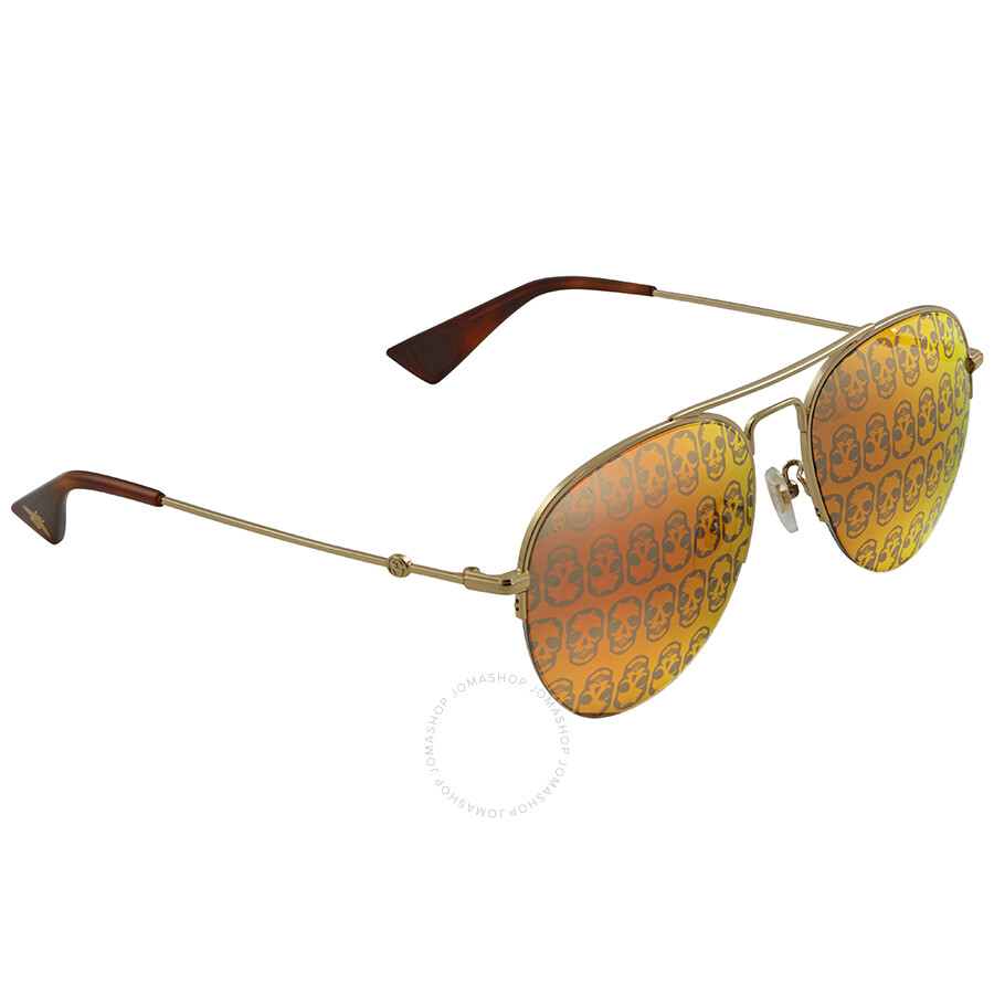 0772ef9c671bc Gucci Orange Mirror Skulls Aviator Sunglasses GG0107S 002 56 - Gucci ...