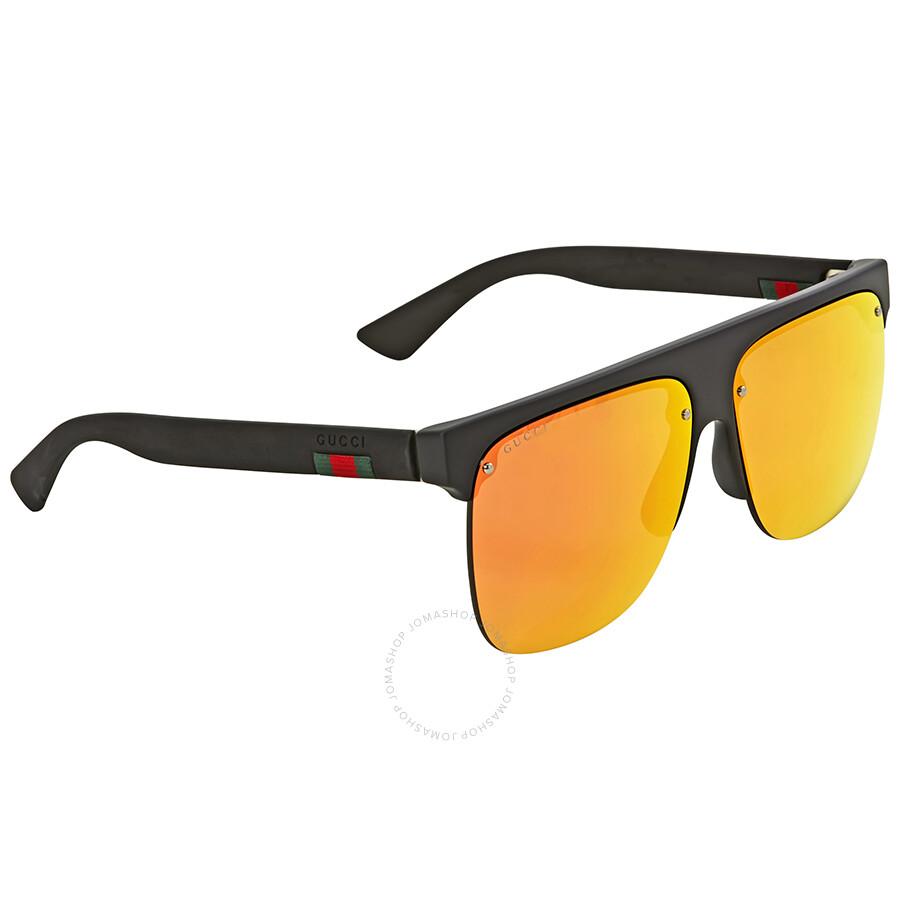 908c53c03f4 Gucci Orange Mirrored Rectangular Sunglasses GG0171S 001 60 - Gucci ...