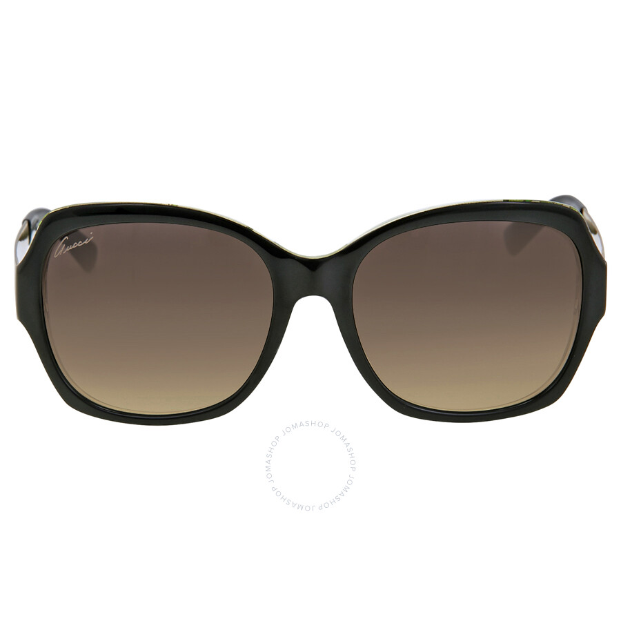 9c5622695c1 Gucci Oversize Asia Fit Black Crystal Gold Ladies Sunglasses  GG3803 F SNIEED ...