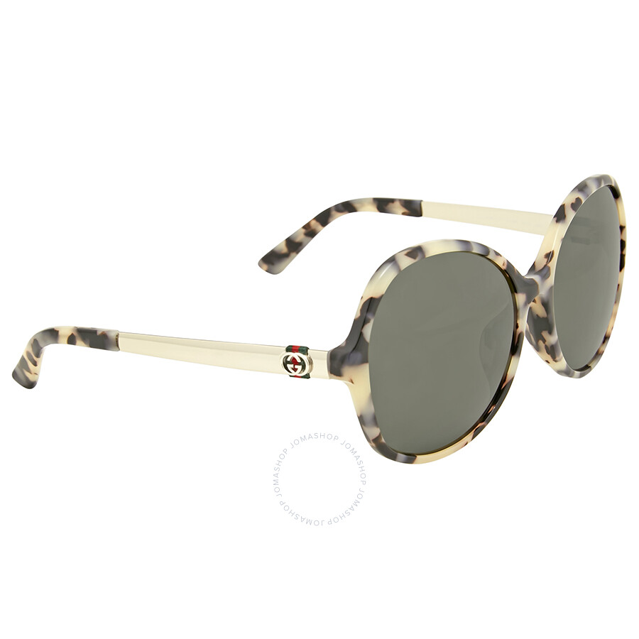 c09722296e2 Gucci Oversize Round Brow Grey Sunglasses - Gucci - Sunglasses ...