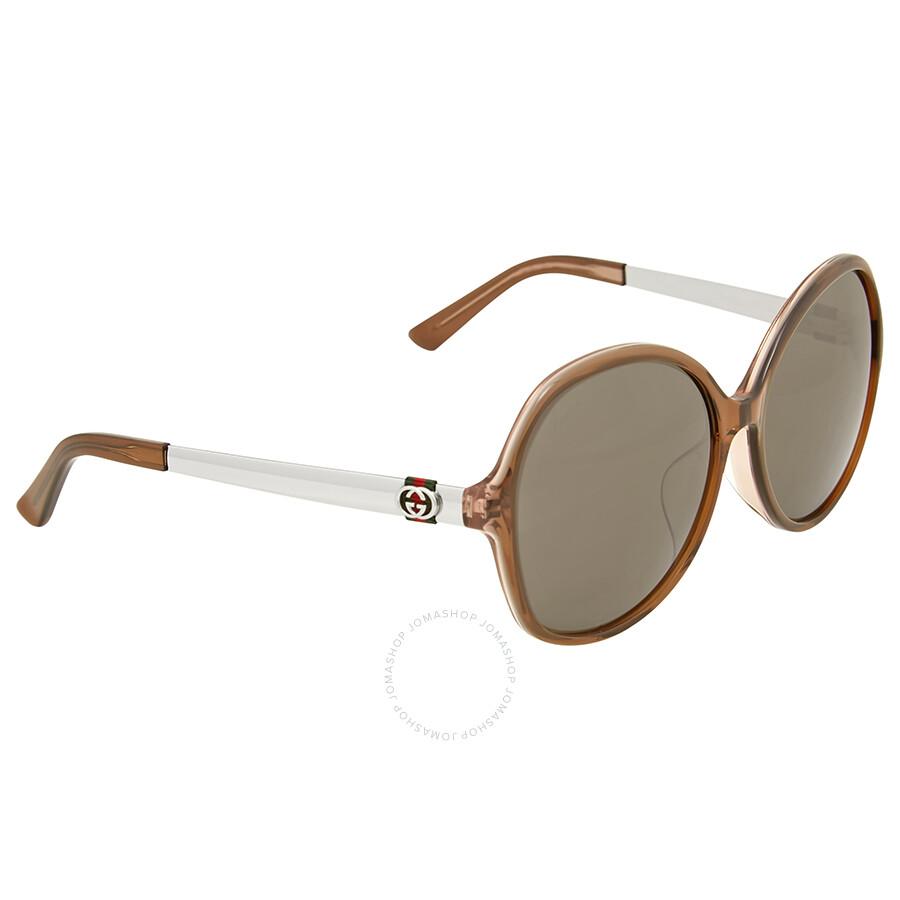 e0db58ff0b Gucci Oversize Round Dark Havana Sunglasses - Gucci - Sunglasses ...
