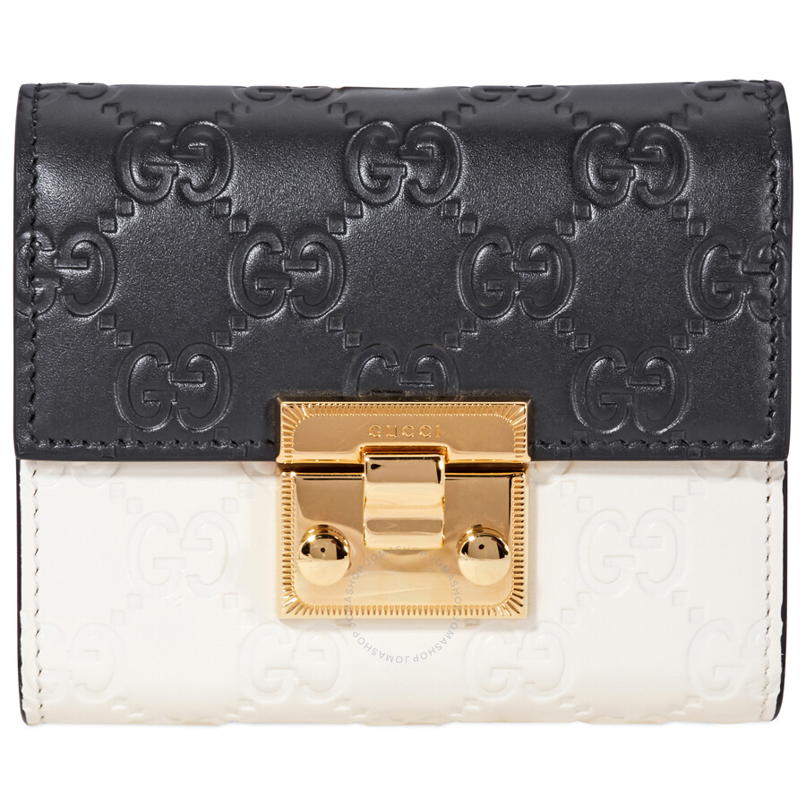 9b6843c649b2 Gucci Padlock Wallet- Black/White - Gucci - Handbags - Jomashop