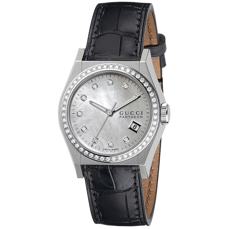 5d431b5ef4a Gucci Pantheon Mother of Pearl Dial Black Leather Diamond Ladies Watch Item  No. YA115405