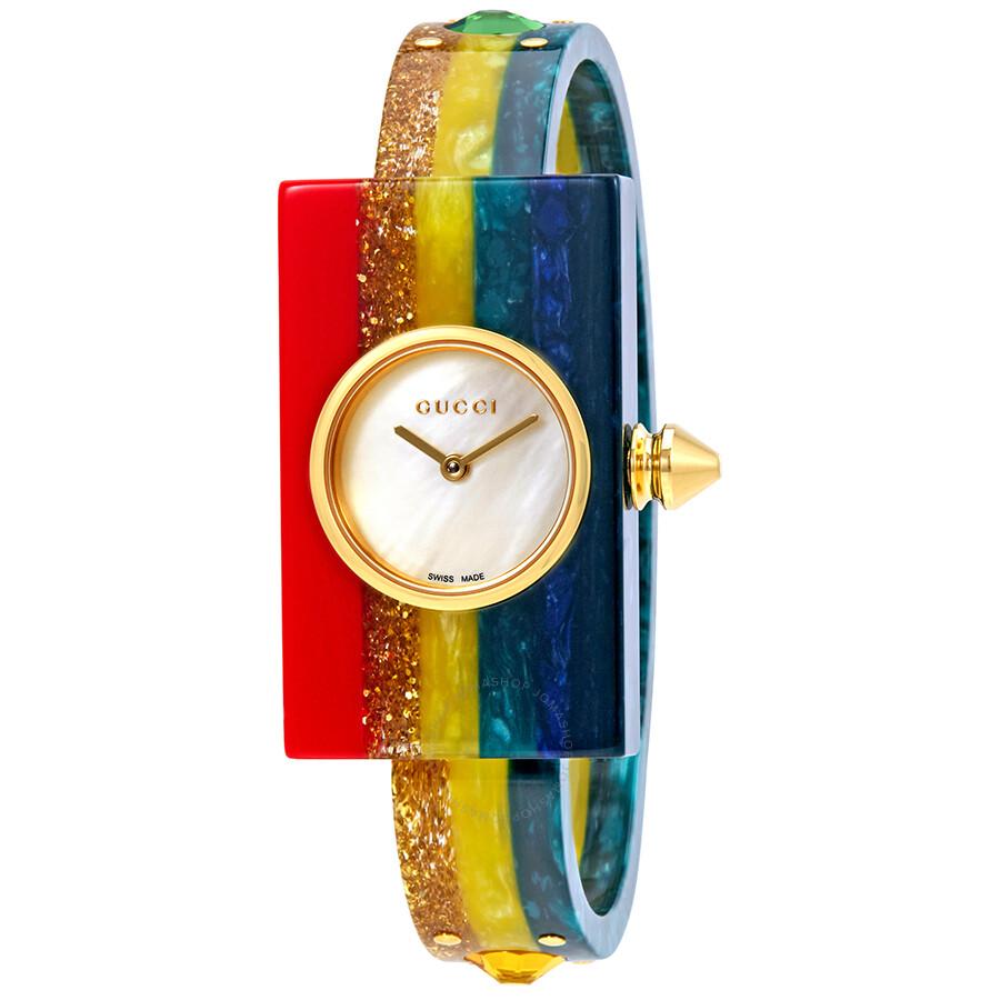 69d6b715026 Gucci Plexiglas Ladies Studded Bangle Watch YA143520 - Gucci ...