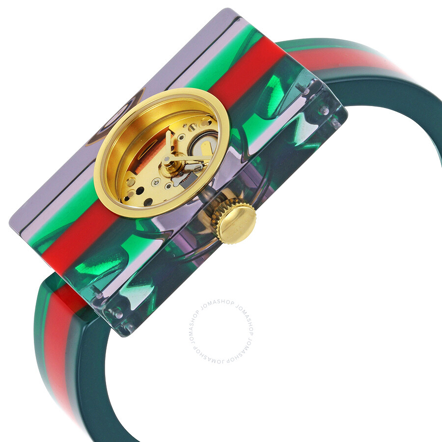4186595105b Gucci Plexiglas Red and Green Ladies Watch YA143503 - Gucci ...