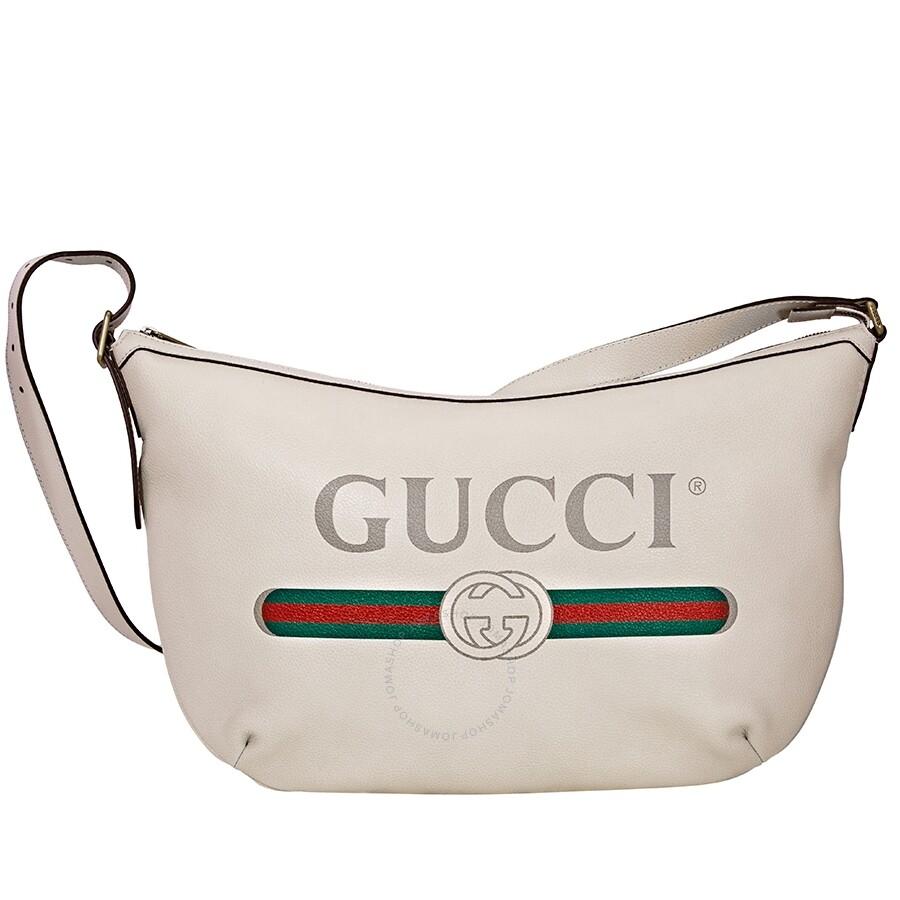 Gucci Print Half,moon Hobo Bag, White