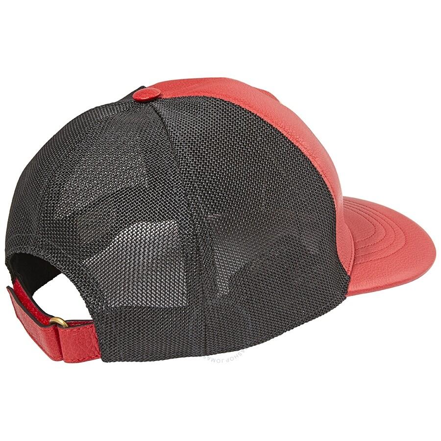 ccc42b12 Gucci Print Leather Baseball Hat- Poppy Red - Apparel - Fashion ...