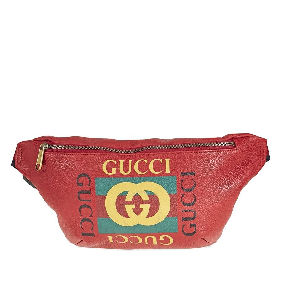 08dbc07e2e5a Gucci Print Leather Belt Bag- Red - Gucci - Handbags - Jomashop