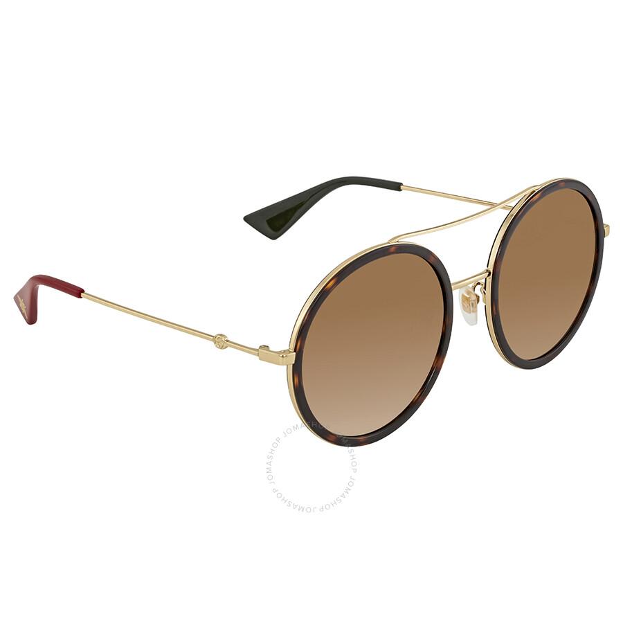 7a2ea8eaeb5 Gucci Round Havana Ladies Sunglasses GG0061S 013 56 - Gucci ...