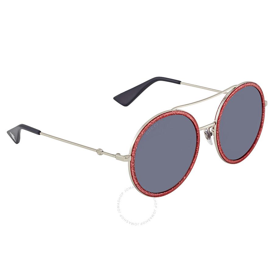2d6580b708 Gucci Round Pink Glitter Ladies Sunglasses GG0061S 007 56 - Gucci ...