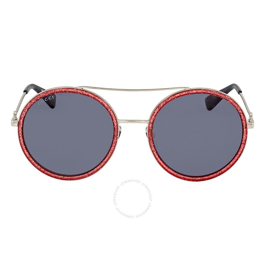 820bfd85533 Gucci Round Pink Glitter Ladies Sunglasses GG0061S 007 56 - Gucci ...