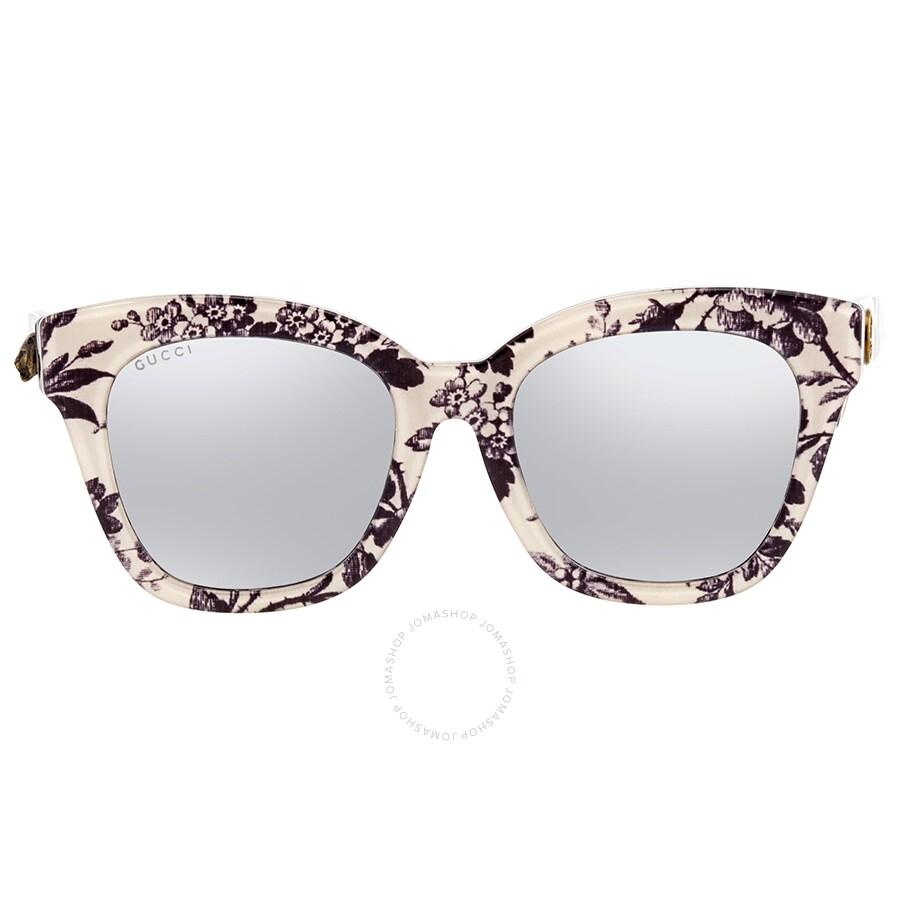 4deba0e2aefe Gucci Silver Cat Eye Ladies Sunglasses GG0029SA 010 52 - Gucci ...