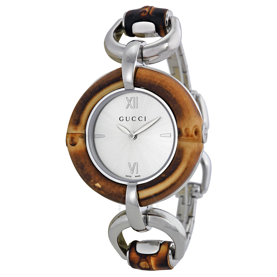 gucci silver bamboo and stainless steel