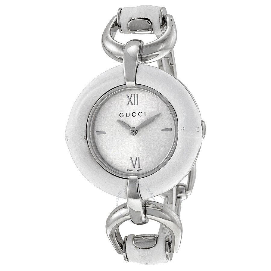 42481214cb5 Gucci Silver Dial White Bamboo Stainless Steel Ladies Watch YA132406 ...