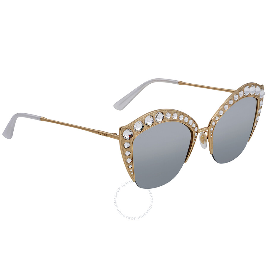 2f259562d11 Gucci Silver Lens Crystal Studded Sunglasses GG0114S 004 53 - Gucci ...