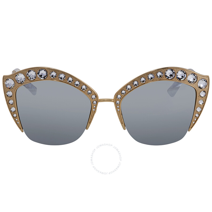 65b1642245155 Gucci Silver Lens Crystal Studded Sunglasses GG0114S 004 53 - Gucci ...