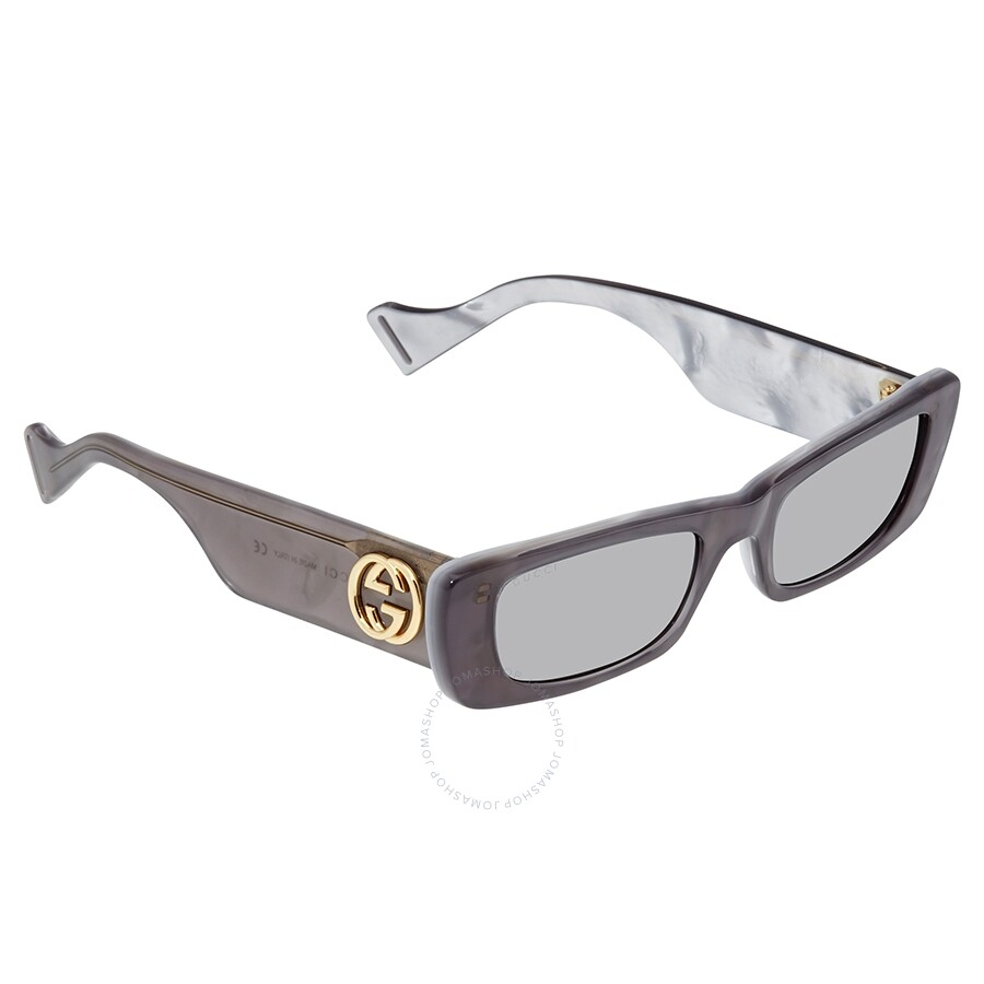 Gucci Silver Rectangular Ladies Sunglasses Gg0516 S 002 52 by Gucci
