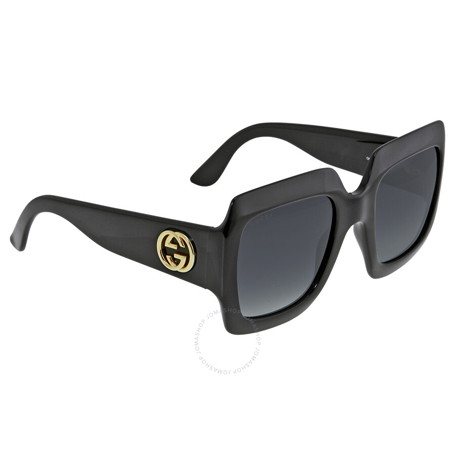 gucci square shiny black frame sunglasses gg3826