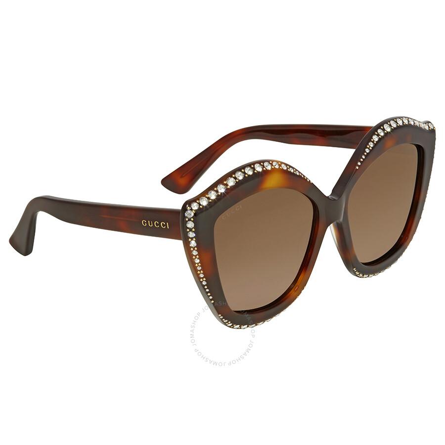 1c2efe3ecdf Gucci Swarovski Clear Crystal Trim Brown Cat Eye Ladies Sunglasses GG0118S- 003 53 ...