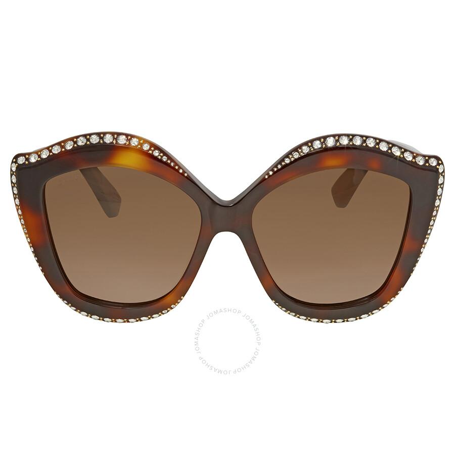 552f0e55e20 ... Gucci Swarovski Clear Crystal Trim Brown Cat Eye Ladies Sunglasses  GG0118S-003 53 ...