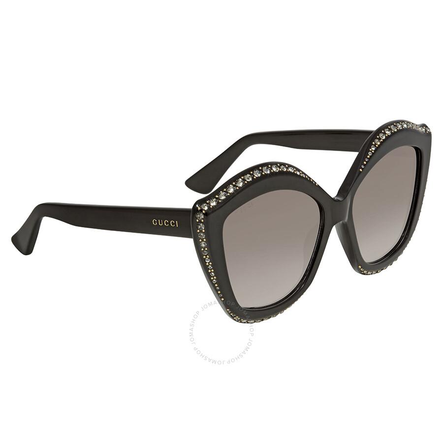 785dfca71c Gucci Swarovski Clear Crystals Trim Grey Cat Eye Ladies Sunglasses  GG0118S-001 53 ...