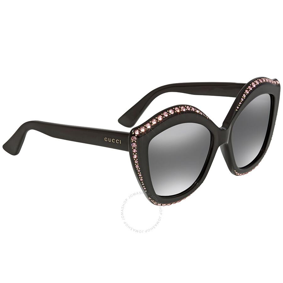 ab857fc42ff18 Gucci Swarovski Pink Crystals Trim Black Cat Eye Ladies Sunglasses  GG0118S-002 53 ...